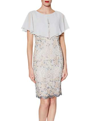 Gina Bacconi Edith Floral Embroidered Dress And Chiffon Cape, Beige