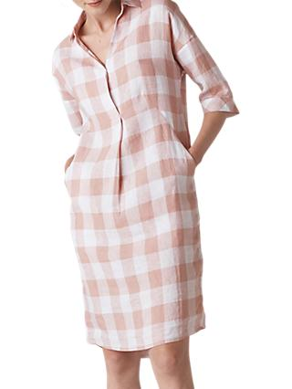 Whistles Lola Gingham Linen Dress, Multi