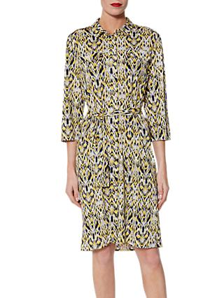 Gina Bacconi Ivy Abstract Print Shirt Dress, Lemon/Multi