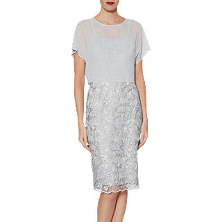 Gina Bacconi Megan Embroidered Dress And Over Top Grey Silver