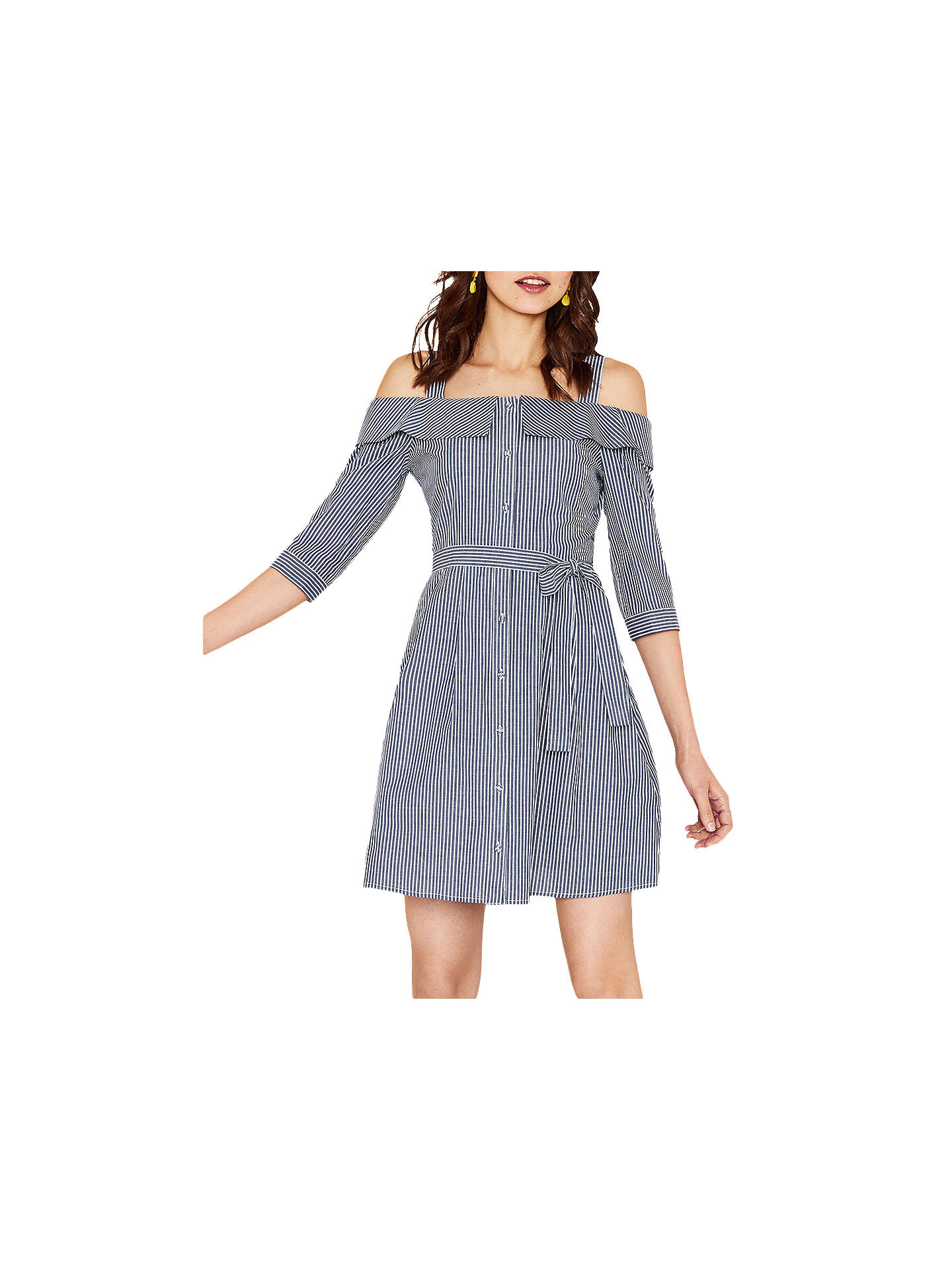 195db3687c86 Buy Oasis Stripe Cold Shoulder Shirt Dress, Blue, 6 Online at johnlewis.com  ...