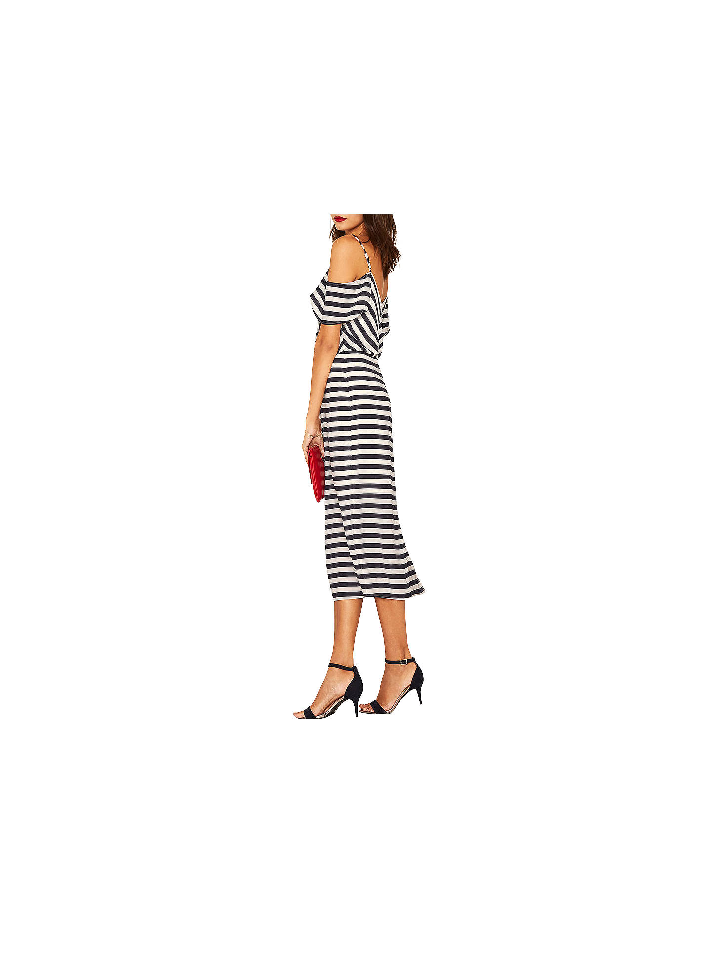 964be478f31e ... Buy Oasis Stripe Cold Shoulder Dress, Blue, 6 Online at johnlewis.com  ...