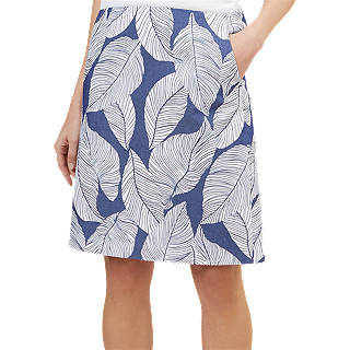 Hobbs Loretta Leaf Print Skirt, Navy/White