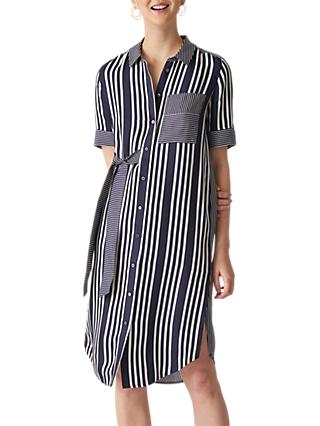 Whistles Stripe Shirt Dress, Navy/Multi