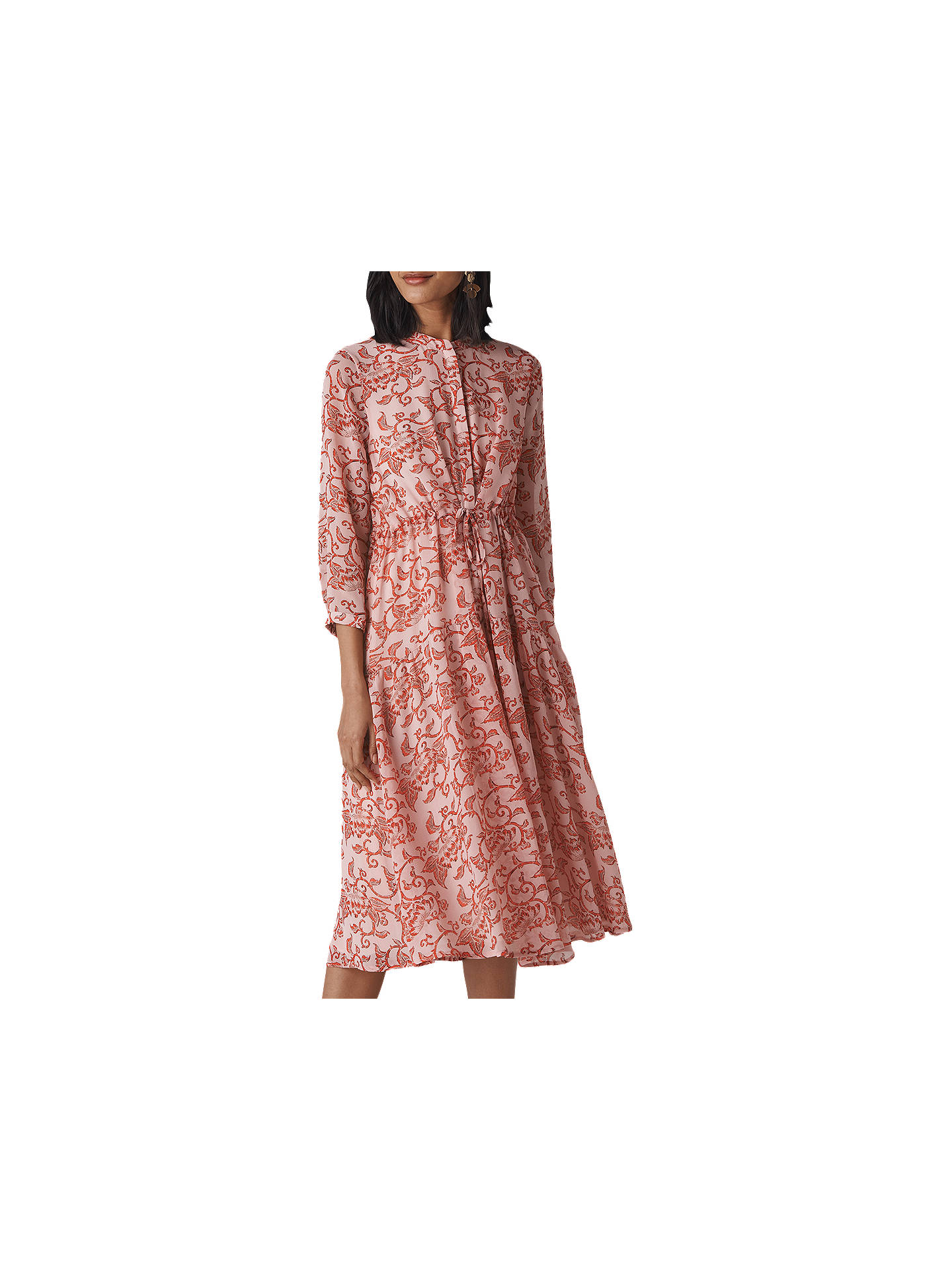 Whistles Bali Print Midi Shirt Dress Pinkmulti At John Lewis