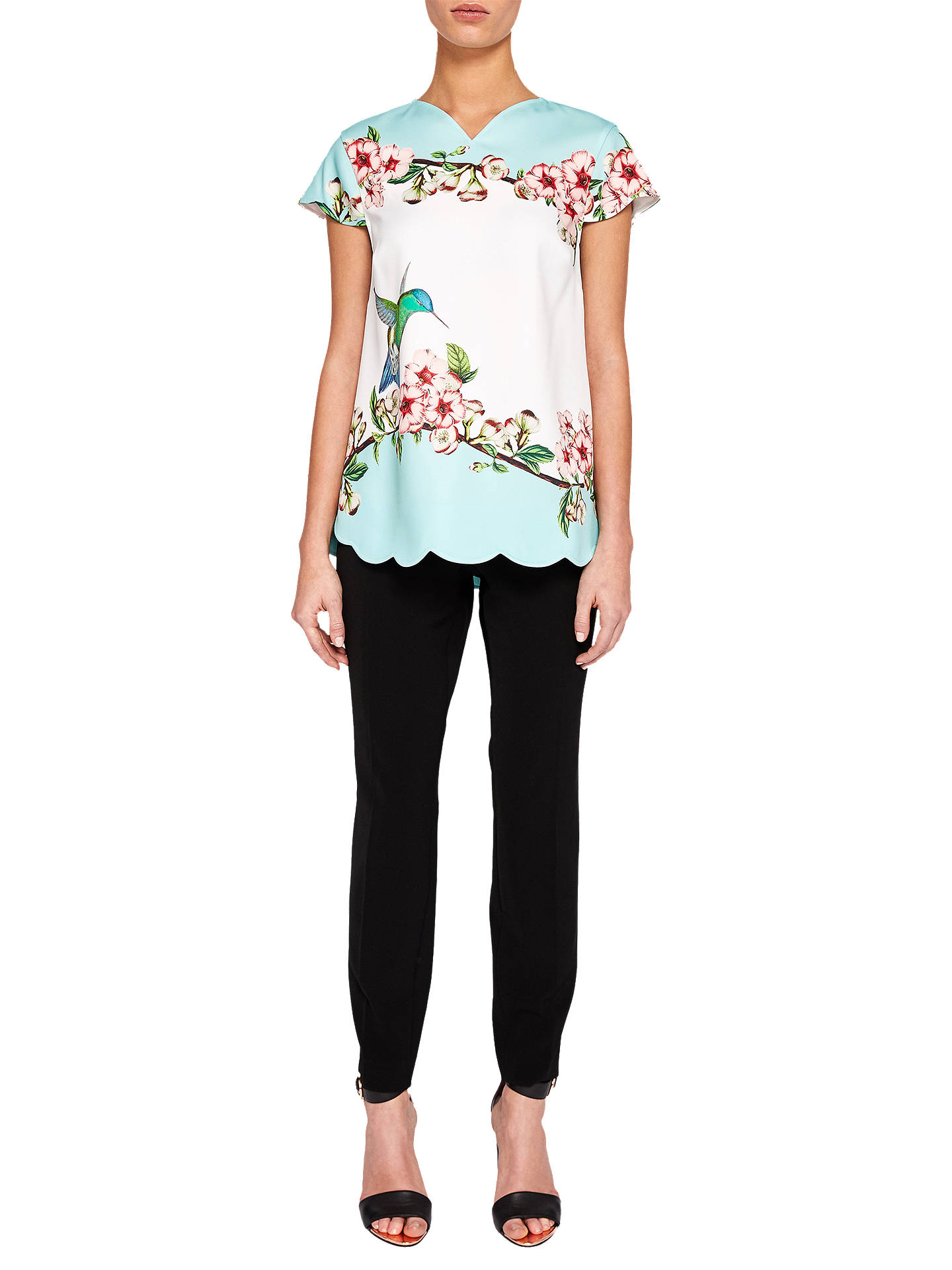 578afce2b476f5 Buy Ted Baker Elmy Nectar Print Scallop Top, Multi, 6 Online at johnlewis.