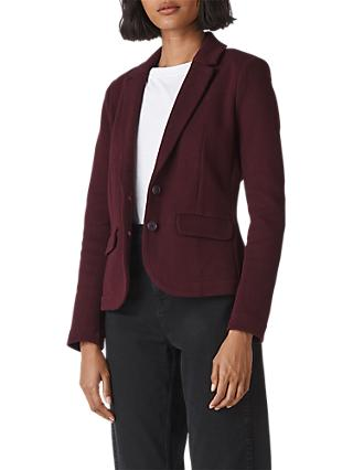 Whistles Slim Jersey Jacket, Burgundy