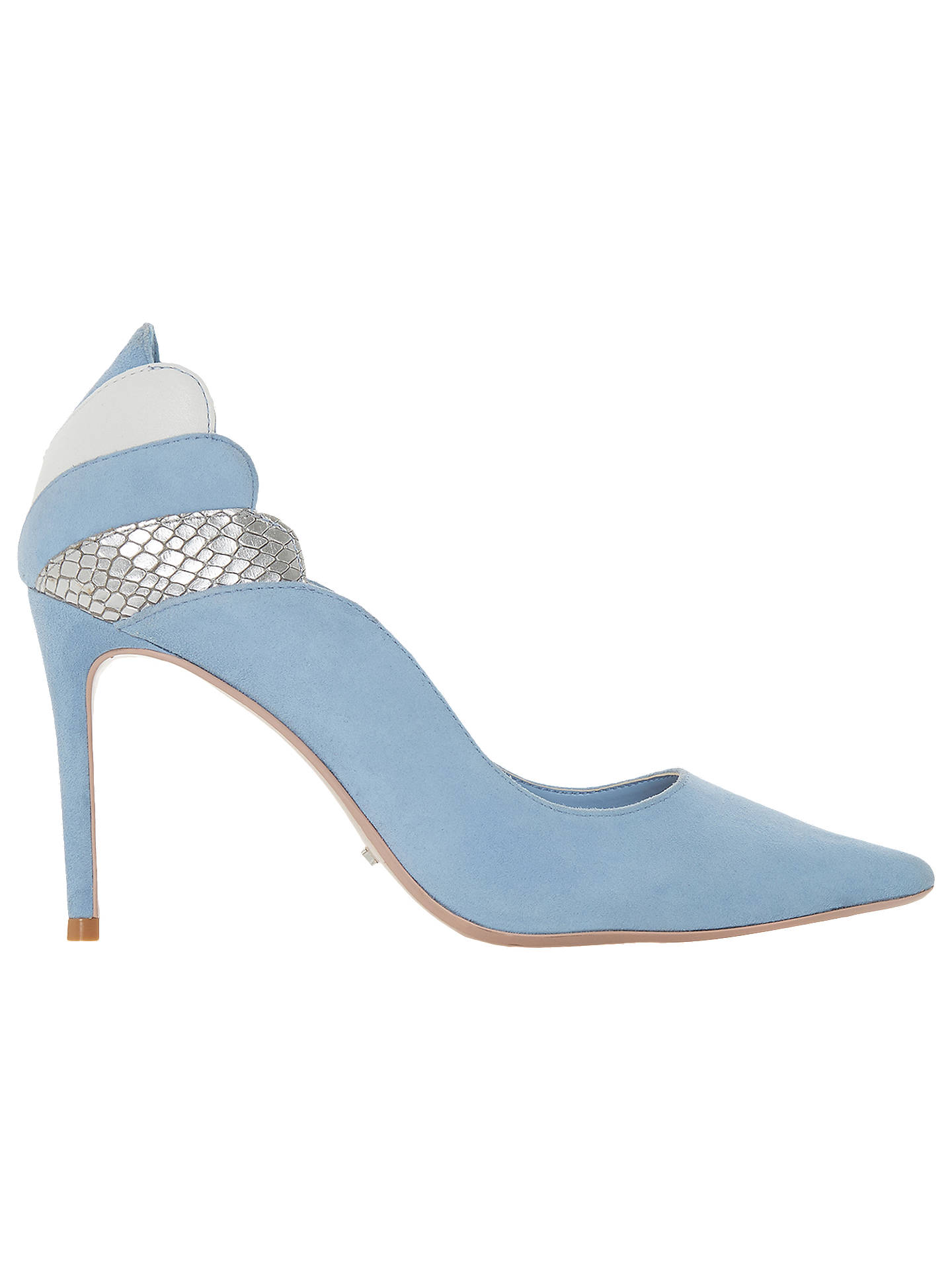 Buy Dune Aerielle Stiletto Heel Court Shoes, Blue Suede, 5 Online at johnlewis.com