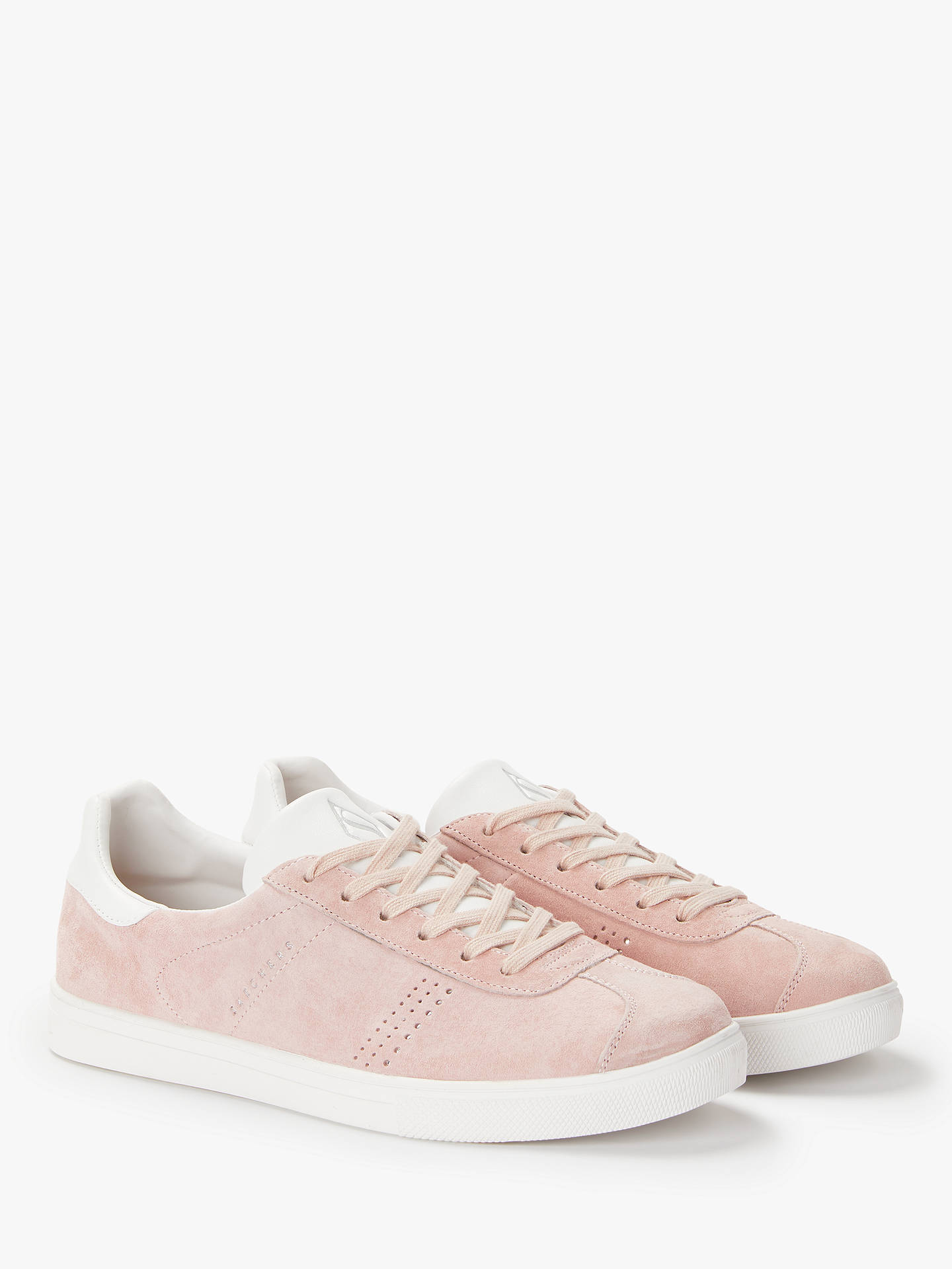BuySkechers Moda Perswayed Lace Up Trainers, Pink Suede, 3 Online at johnlewis.com