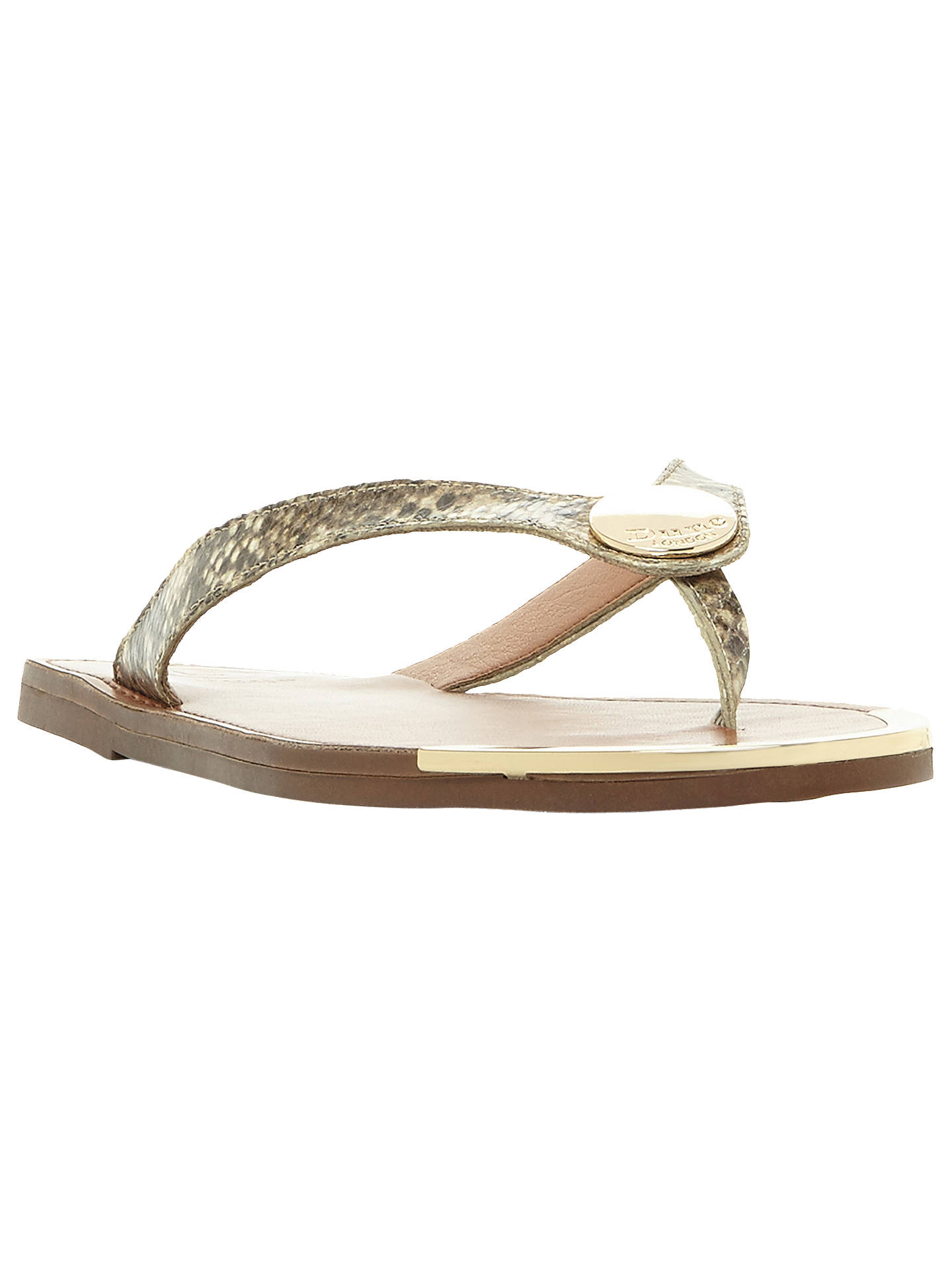 BuyDune Lagos Toe Post Sandals, Brown/Green Leather, 3 Online at johnlewis.com