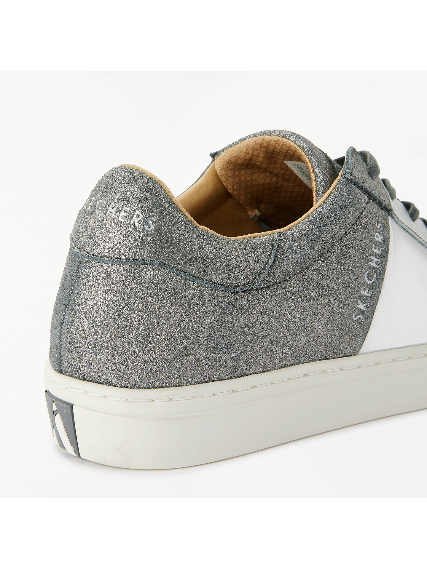BuySkechers Side Street Lace Up Trainers, Grey/Silver Leather, 3 Online at johnlewis.com