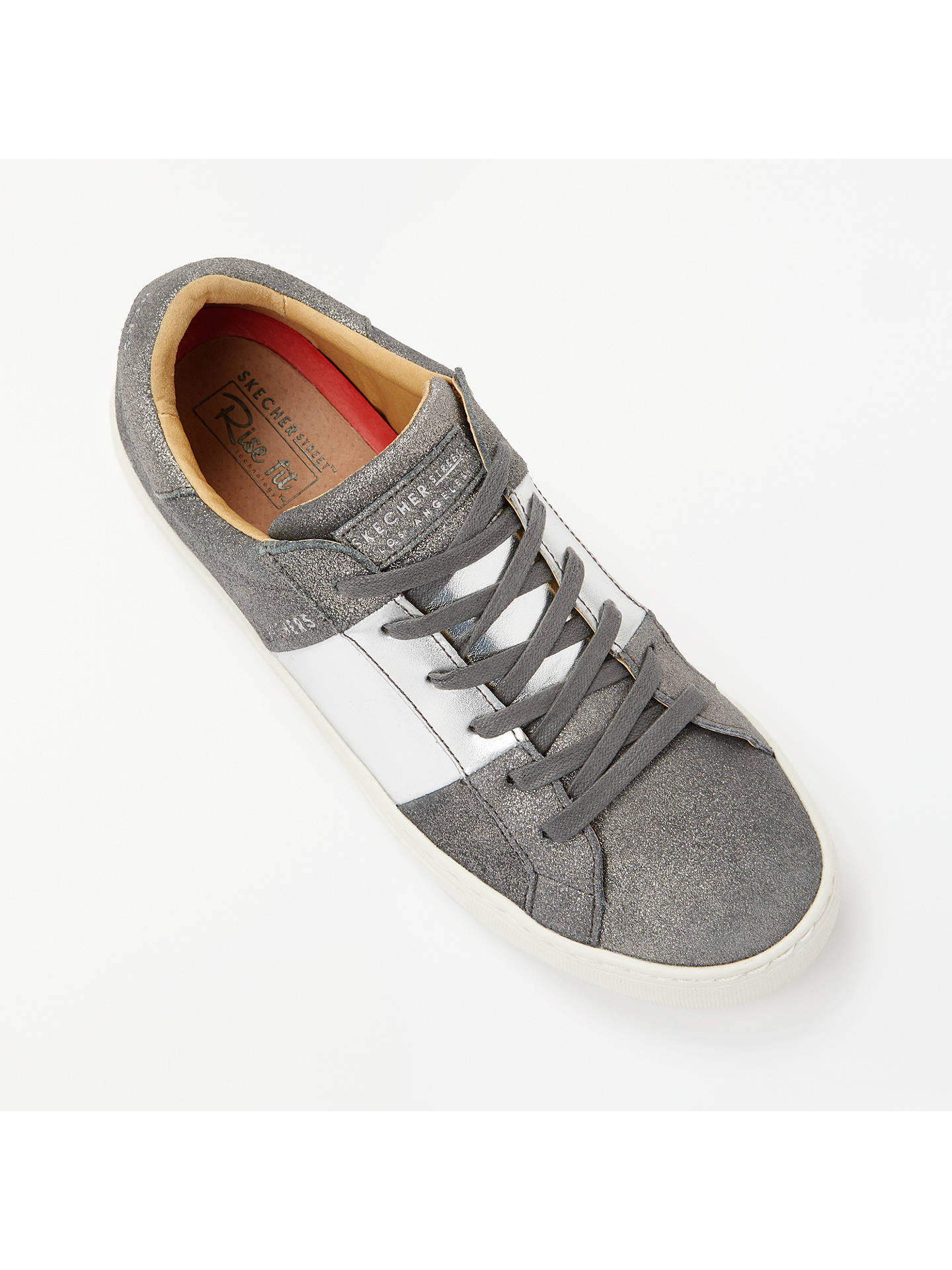 Buy Skechers Side Street Lace Up Trainers, Grey/Silver Leather, 5 Online at johnlewis.com