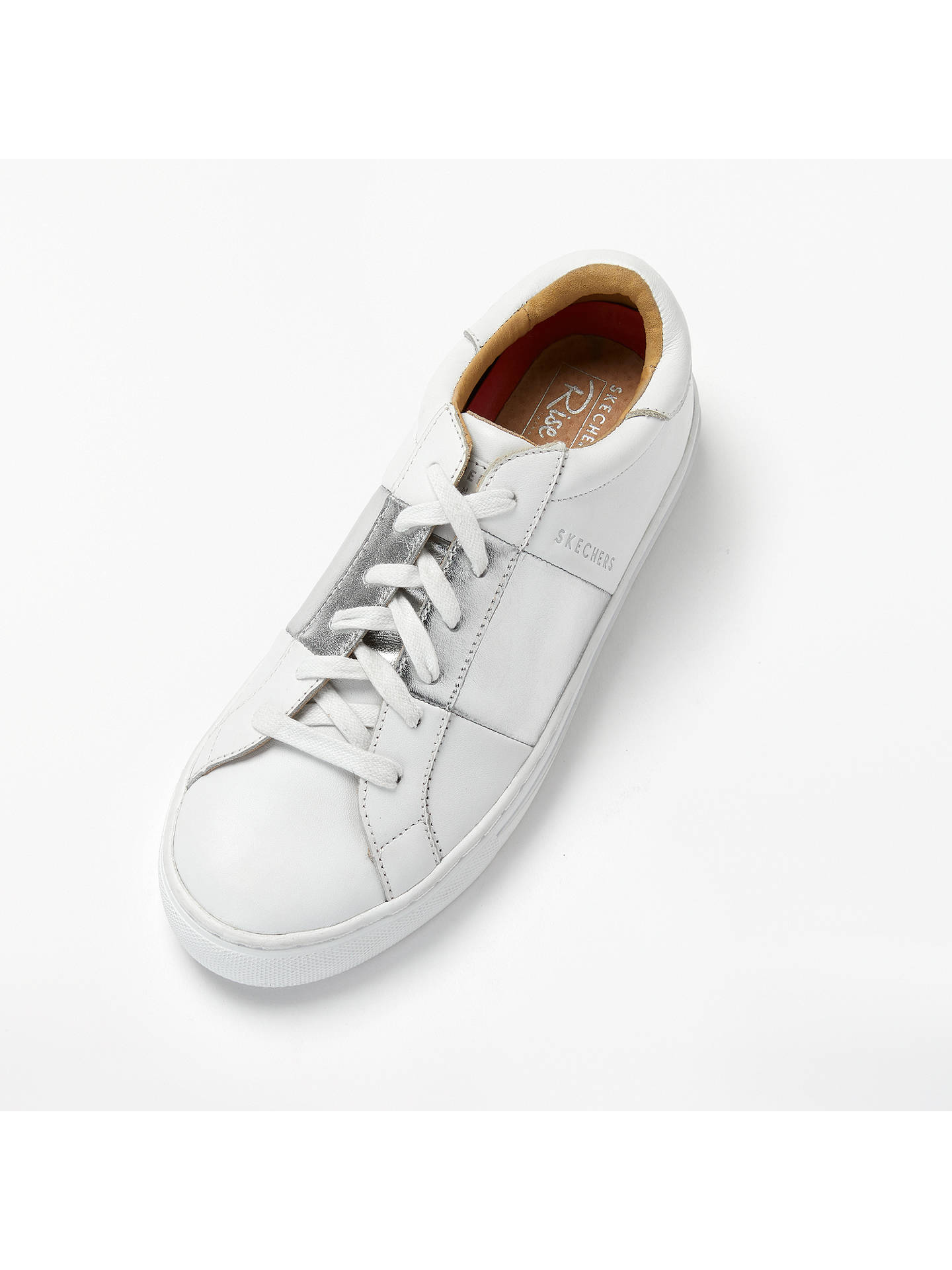 Buy Skechers Side Street Lace Up Trainers, White/Silver Leather, 8 Online at johnlewis.com