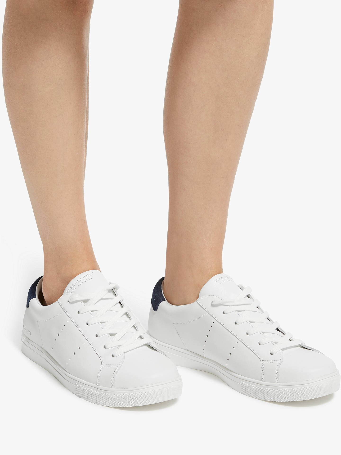 BuySkechers Moda Walk Street Lace Up Trainers, White Leather, 3 Online at johnlewis.com
