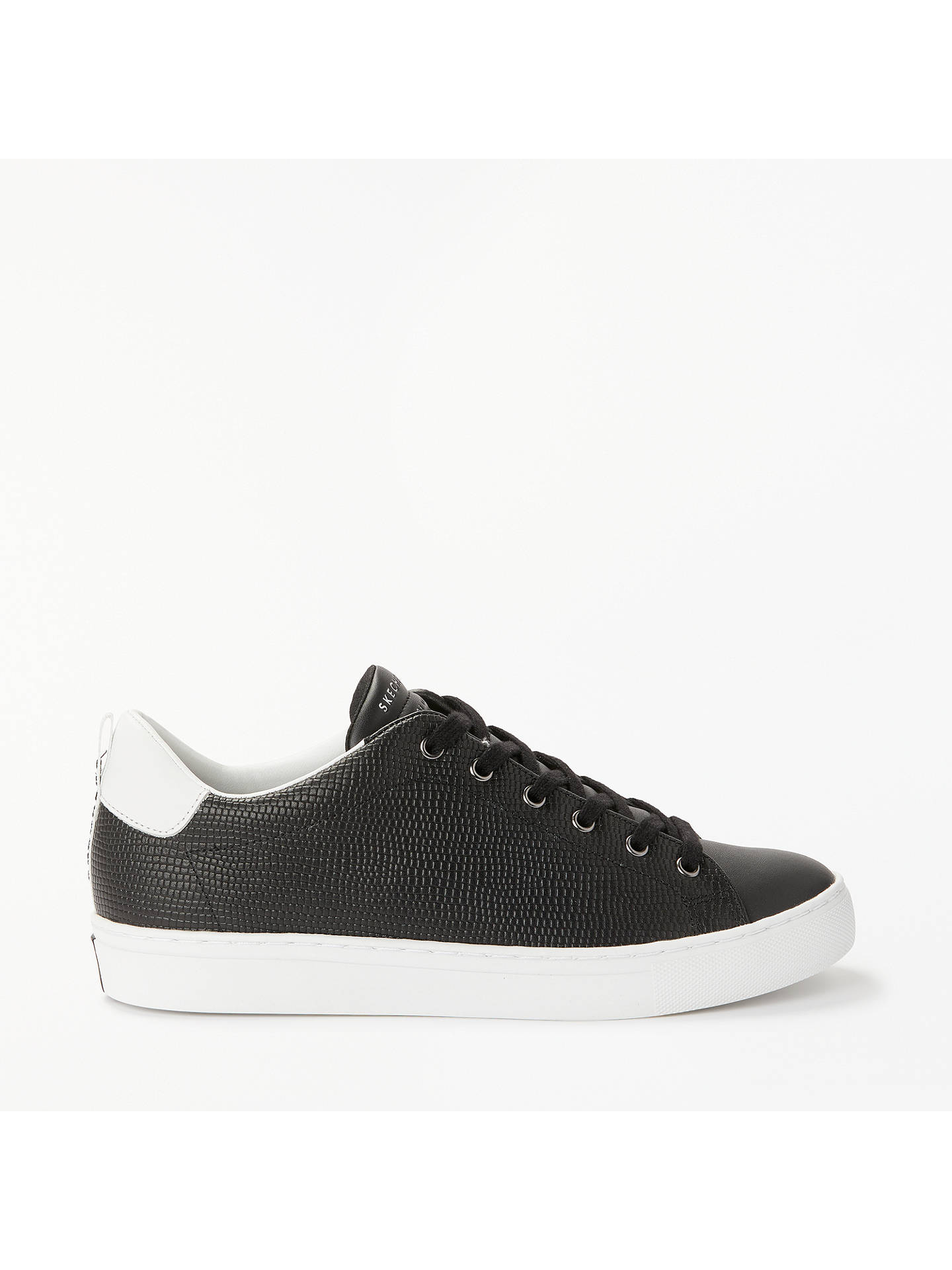 BuySkechers Side Street Tegu Lace Up Trainers, Black Leather, 3 Online at johnlewis.com