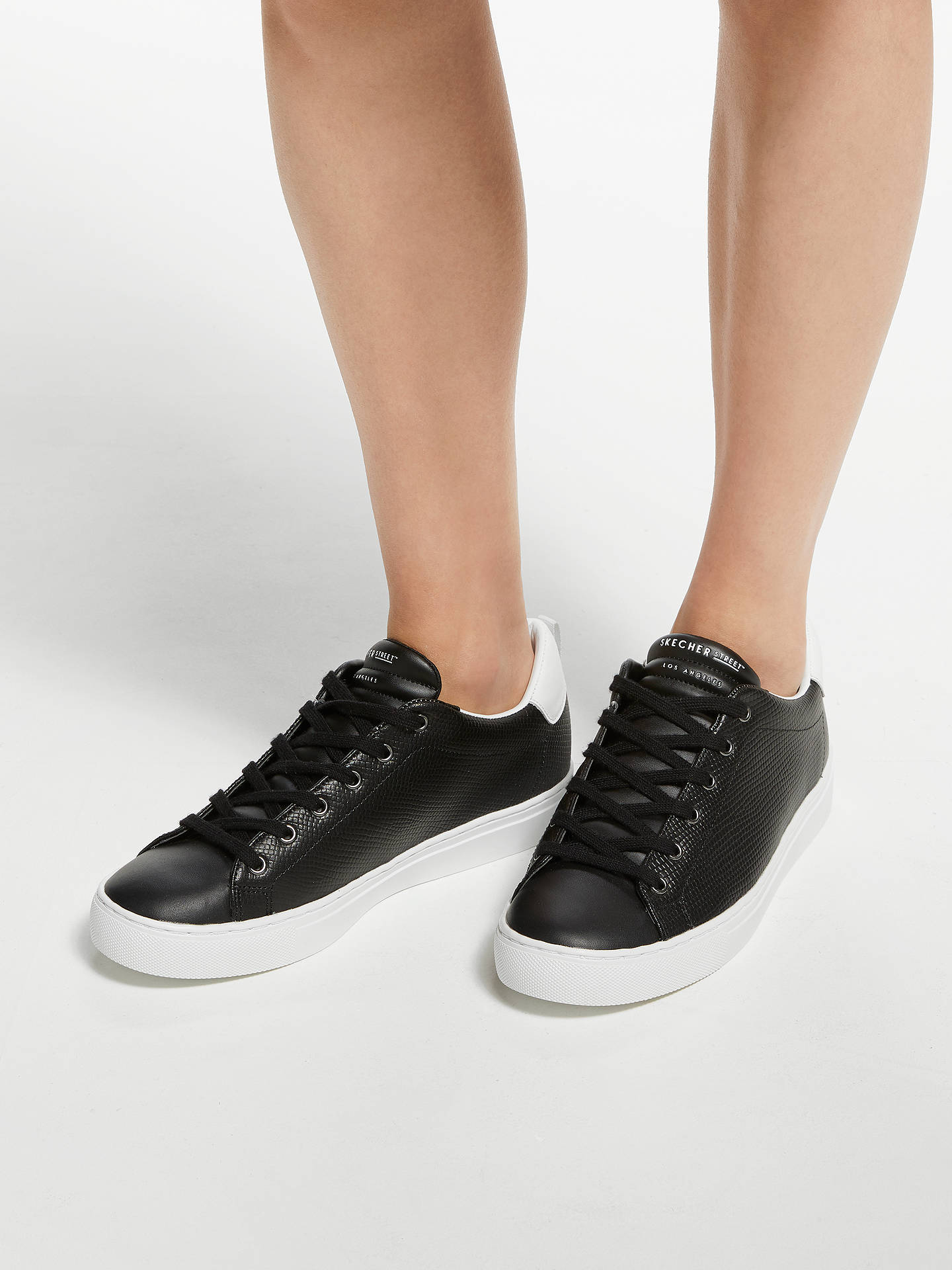 Buy Skechers Side Street Tegu Lace Up Trainers, Black Leather, 3 Online at johnlewis.com