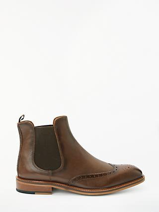 John Lewis & Partners Nate Brogue Chelsea Boots, Brown