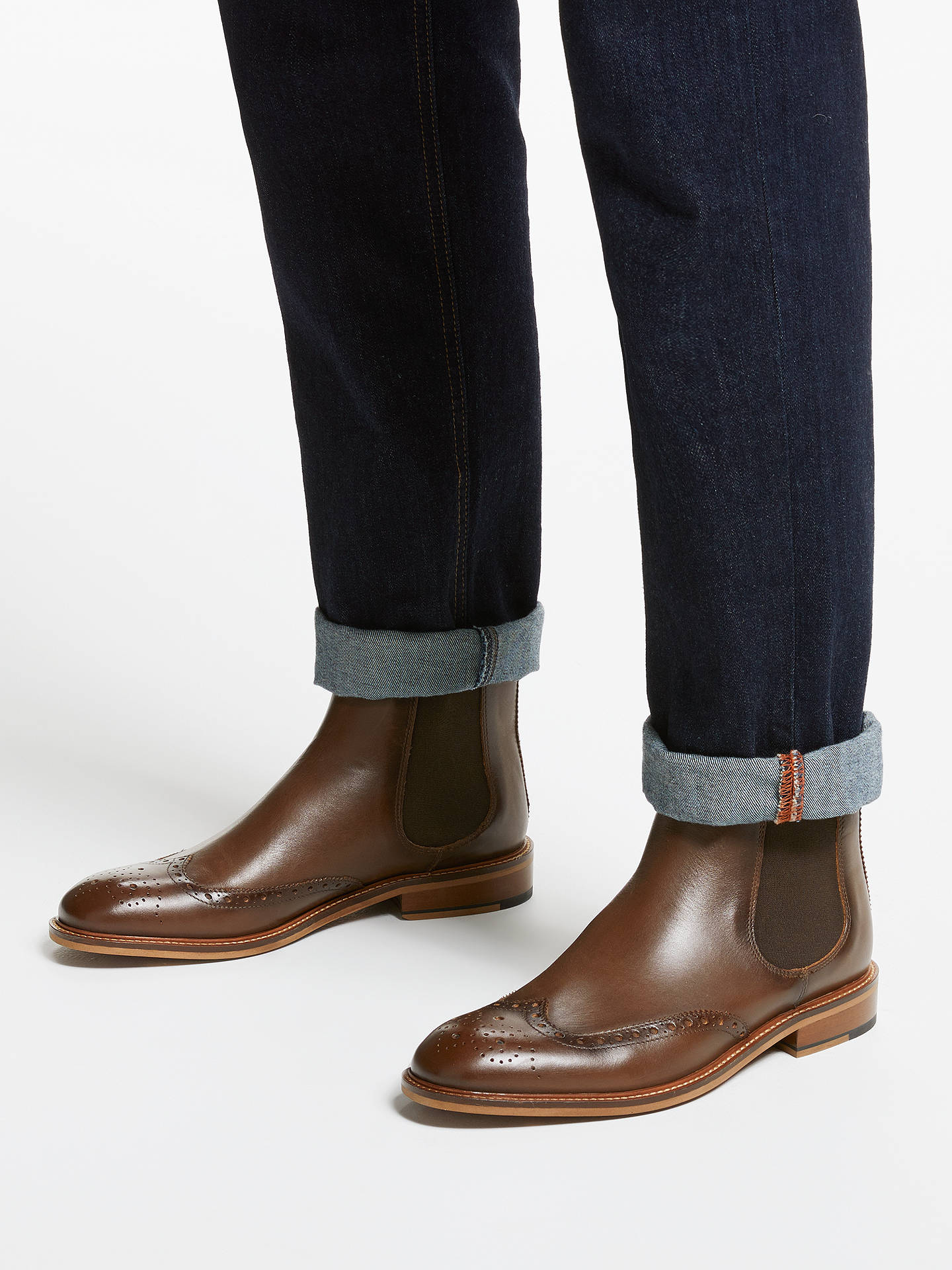 dd22782f26a John Lewis & Partners Nate Brogue Chelsea Boots, Brown at John Lewis ...