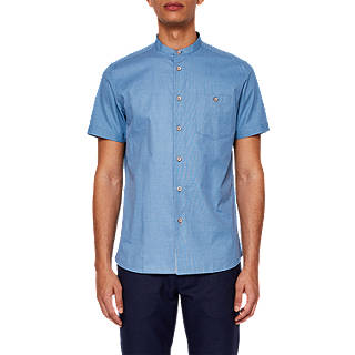 Ted Baker Gonky Short Sleeve Grandad Collar Shirt, Blue