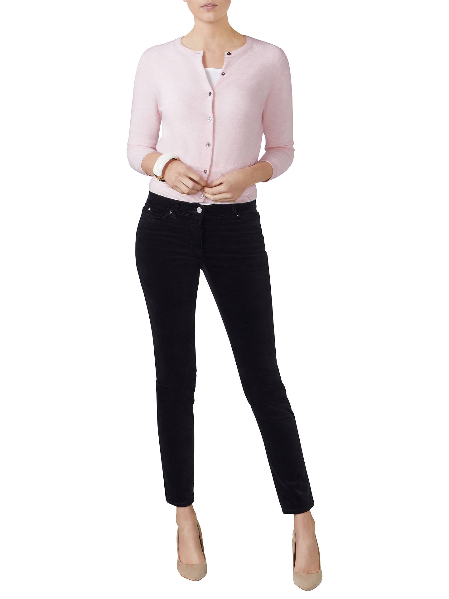 BuyPure Collection Cashmere Cropped Cardigan, Rose Mist, 10 Online at johnlewis.com