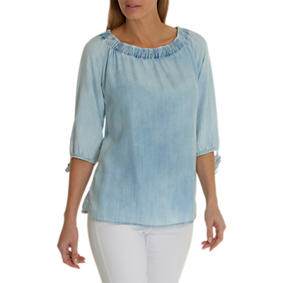 Betty Barclay Bleached Denim Blouse, Blue Bleached Denim