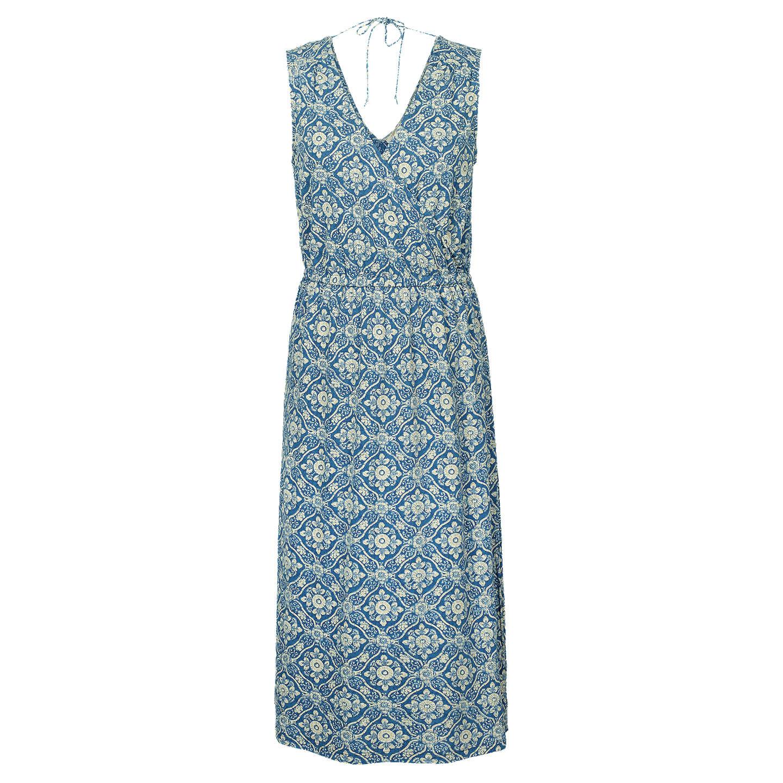 Fat Face Blair Woodblock Midi Dress, Indigo at John Lewis
