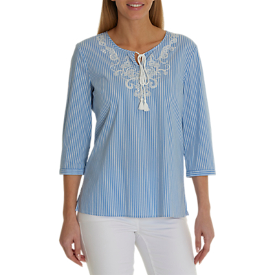 Betty Barclay Embellished Blouse, Blue/Cream