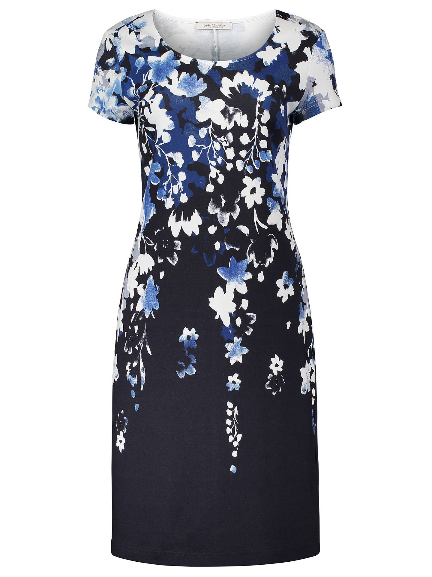 BuyBetty Barclay Floral Print Dress, Blue/Cream, 10 Online at johnlewis.com
