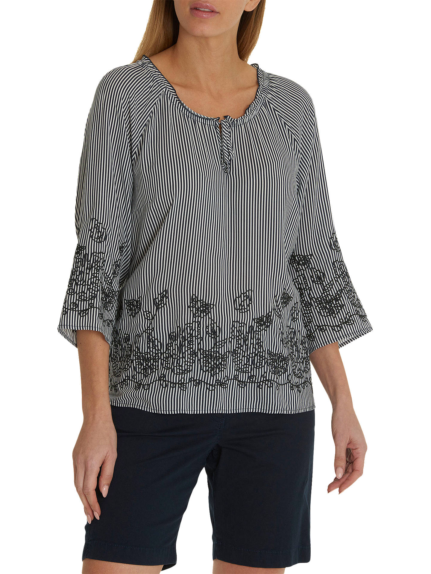 BuyBetty Barclay Embroidered Blouse, Blue/Cream, 10 Online at johnlewis.com