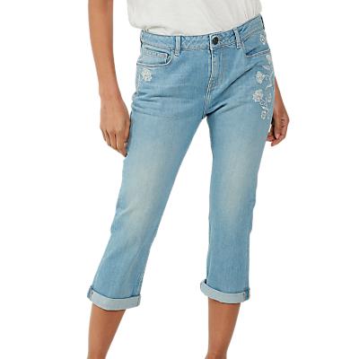 Fat Face Embroidered Cropped Jeans, Light Blue