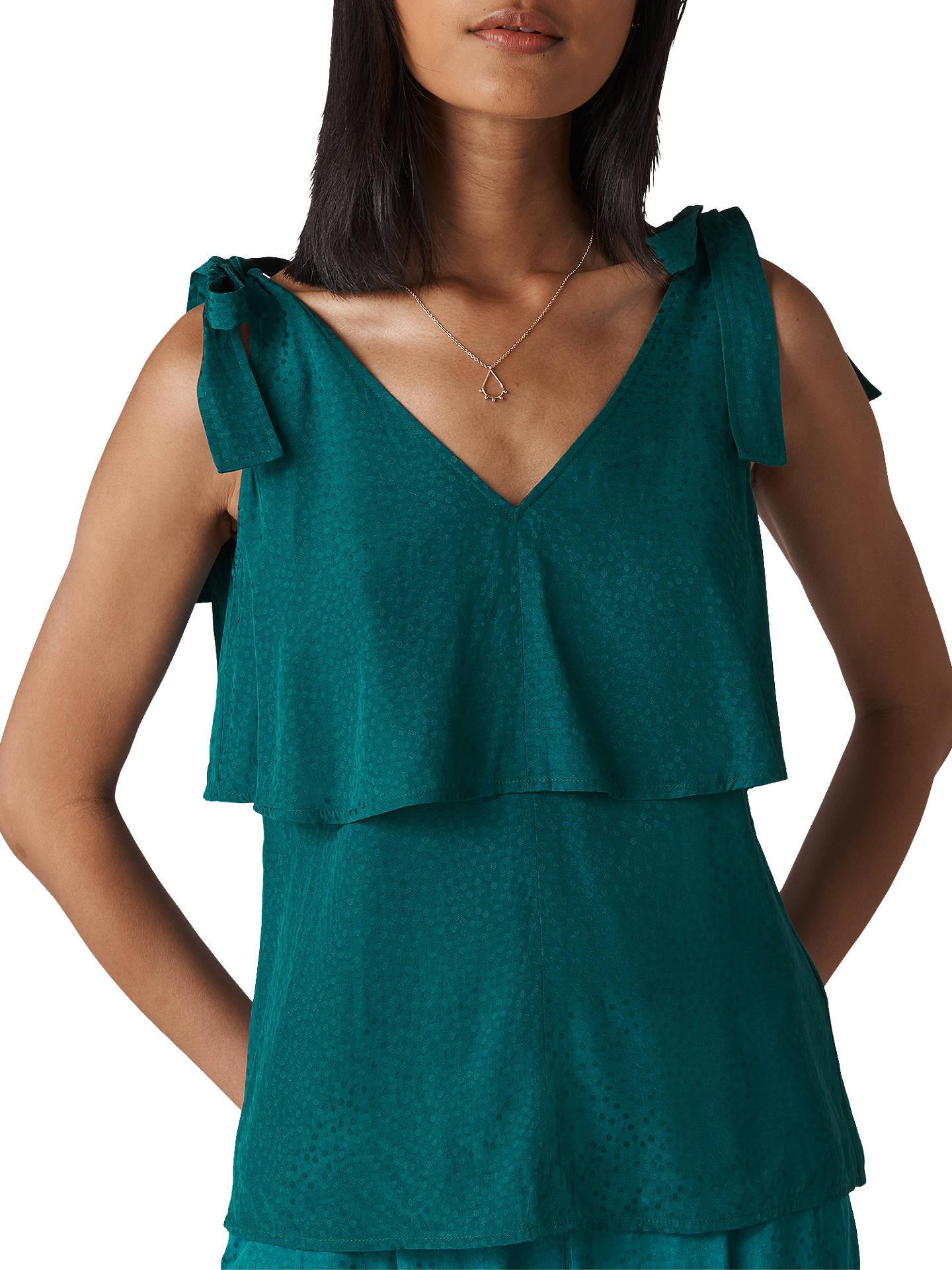 f3391d9d5b60 Buy Whistles Jacquard Tie Shoulder Top, Green, 6 Online at johnlewis.com ...