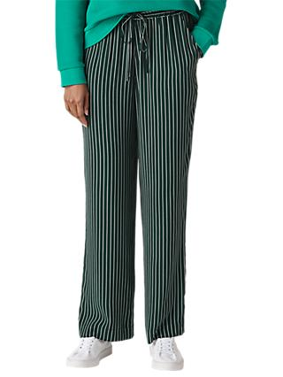 Whistles Wide Leg Stripe Trousers, Green