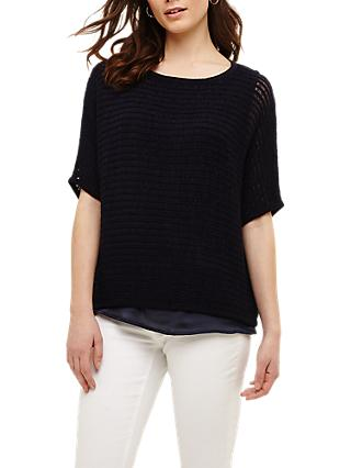 Phase Eight Lori Ladder Stitch Tape Jumper, Navy