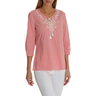 Betty Barclay Embellished Blouse, Red/Cream
