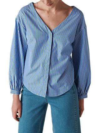 Whistles Bardot Stripe Shirt, Blue/White
