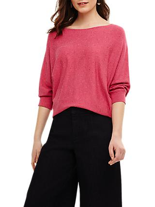 Phase Eight Becca Smart Coloured Fleck Jumper, Pink