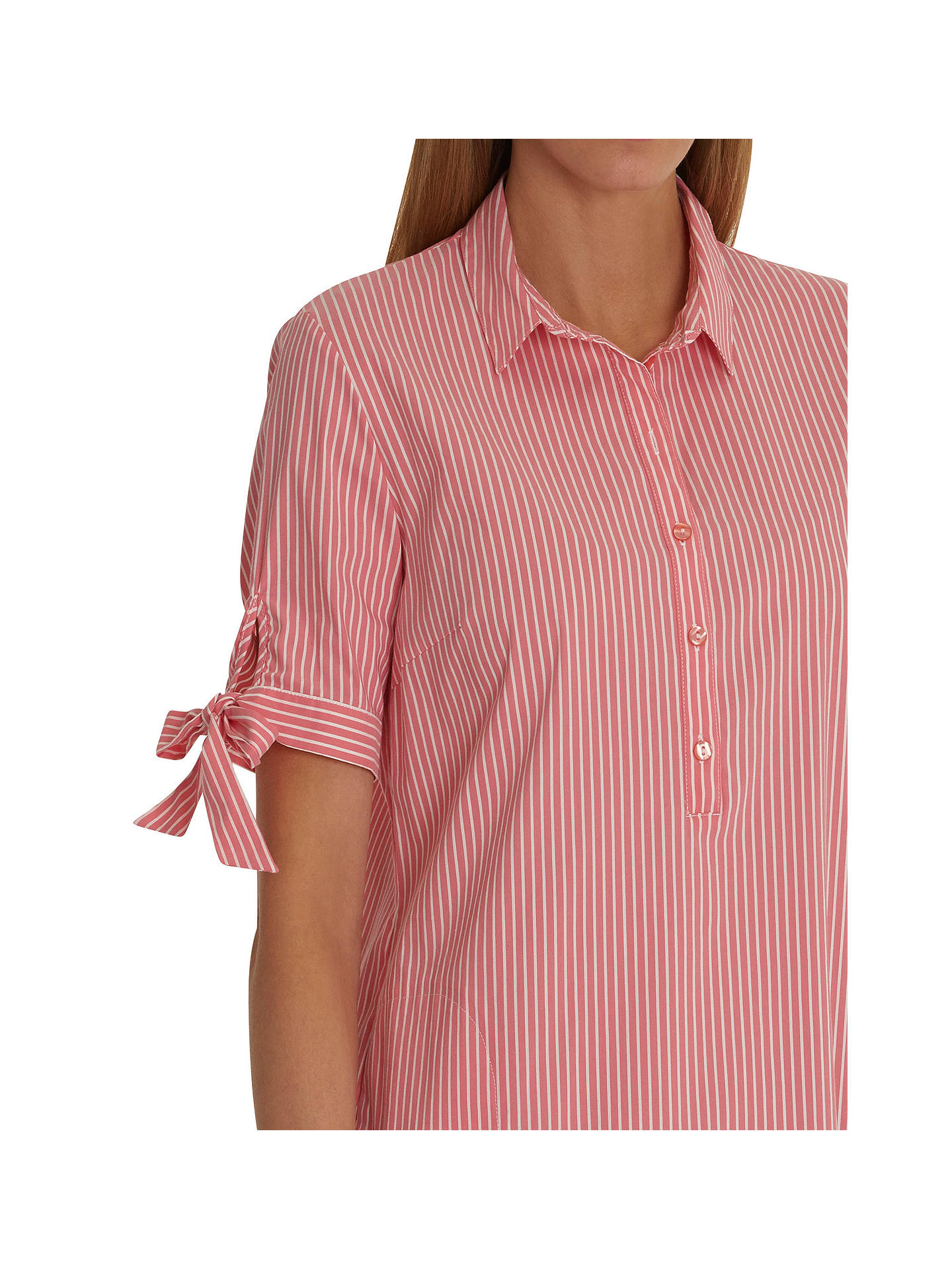 BuyBetty Barclay Stripe Print Shirt Dress, Red/Cream, 20 Online at johnlewis.com