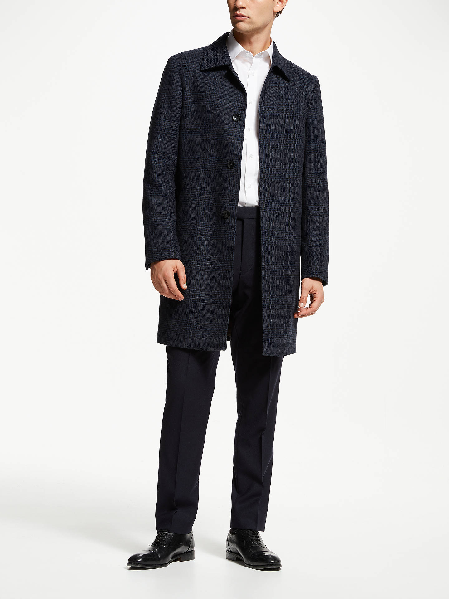 BuyJohn Lewis & Partners Check Shirt Collar Coat, Navy, 44R Online at johnlewis.com