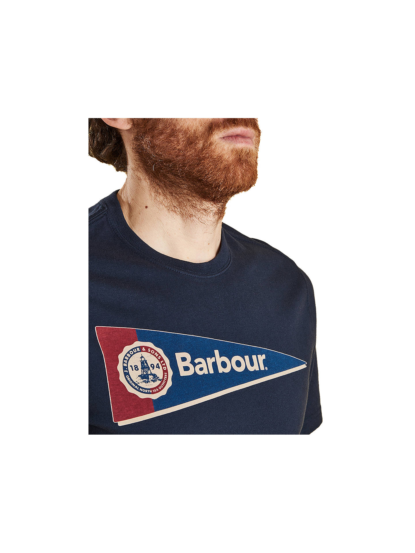 Buy Barbour Pennant Short Sleeve Logo T-Shirt, Navy, M Online at johnlewis.com