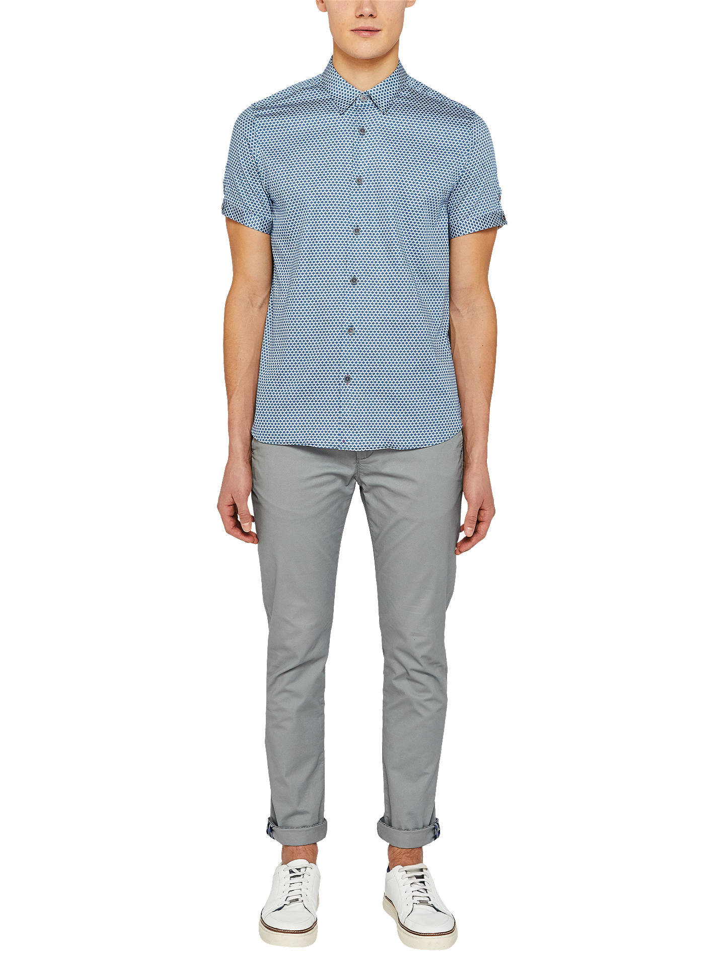 Buy Ted Baker Gudvu Short Sleeve Printed Shirt, Blue, 5 Online at johnlewis.com