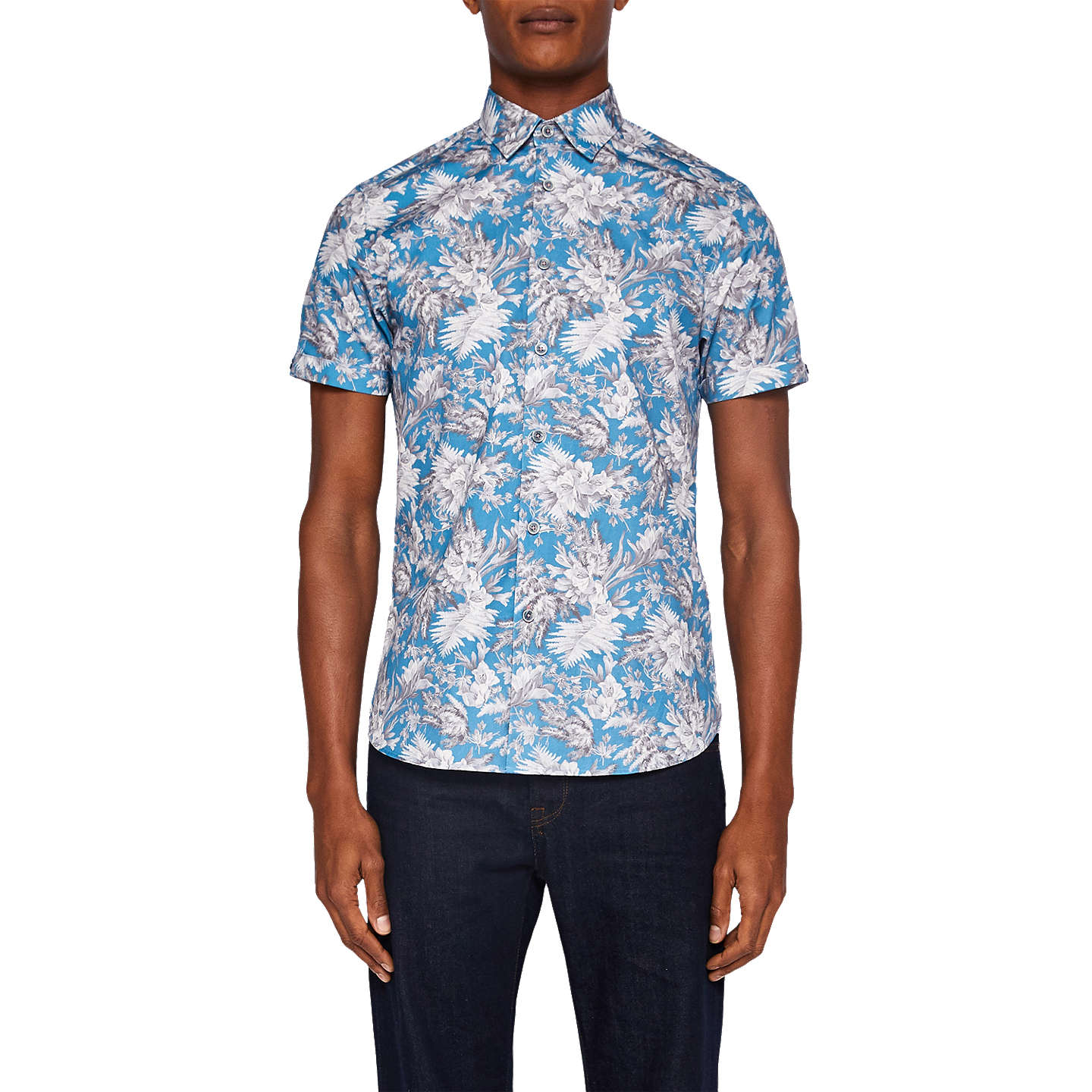 Ted Baker Neekrit Short Sleeve Floral Shirt | Light Blue at John Lewis