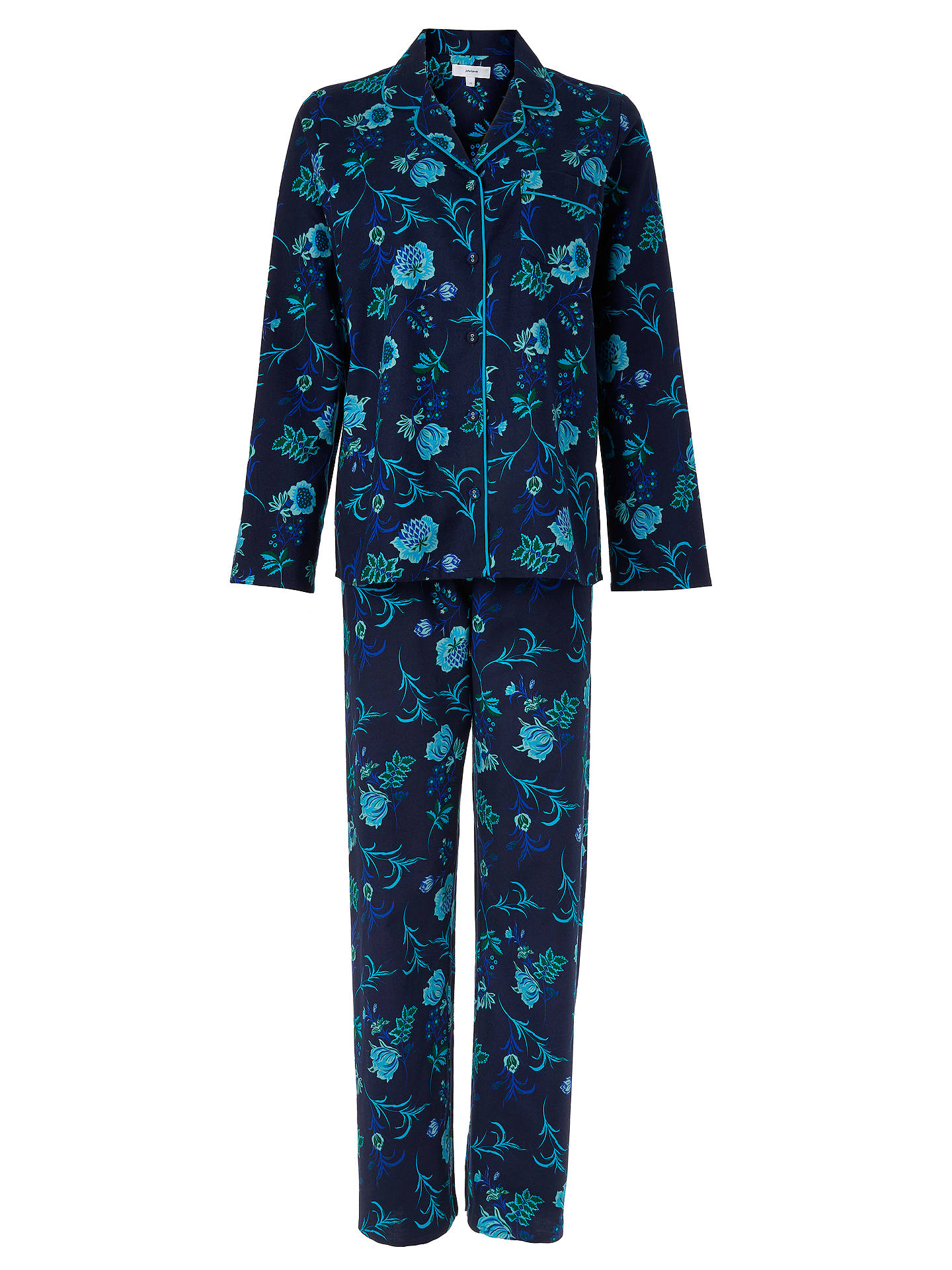Buy John Lewis & Partners Chie Floral Print Cotton Pyjama Set, Navy/Turquoise, 8 Online at johnlewis.com