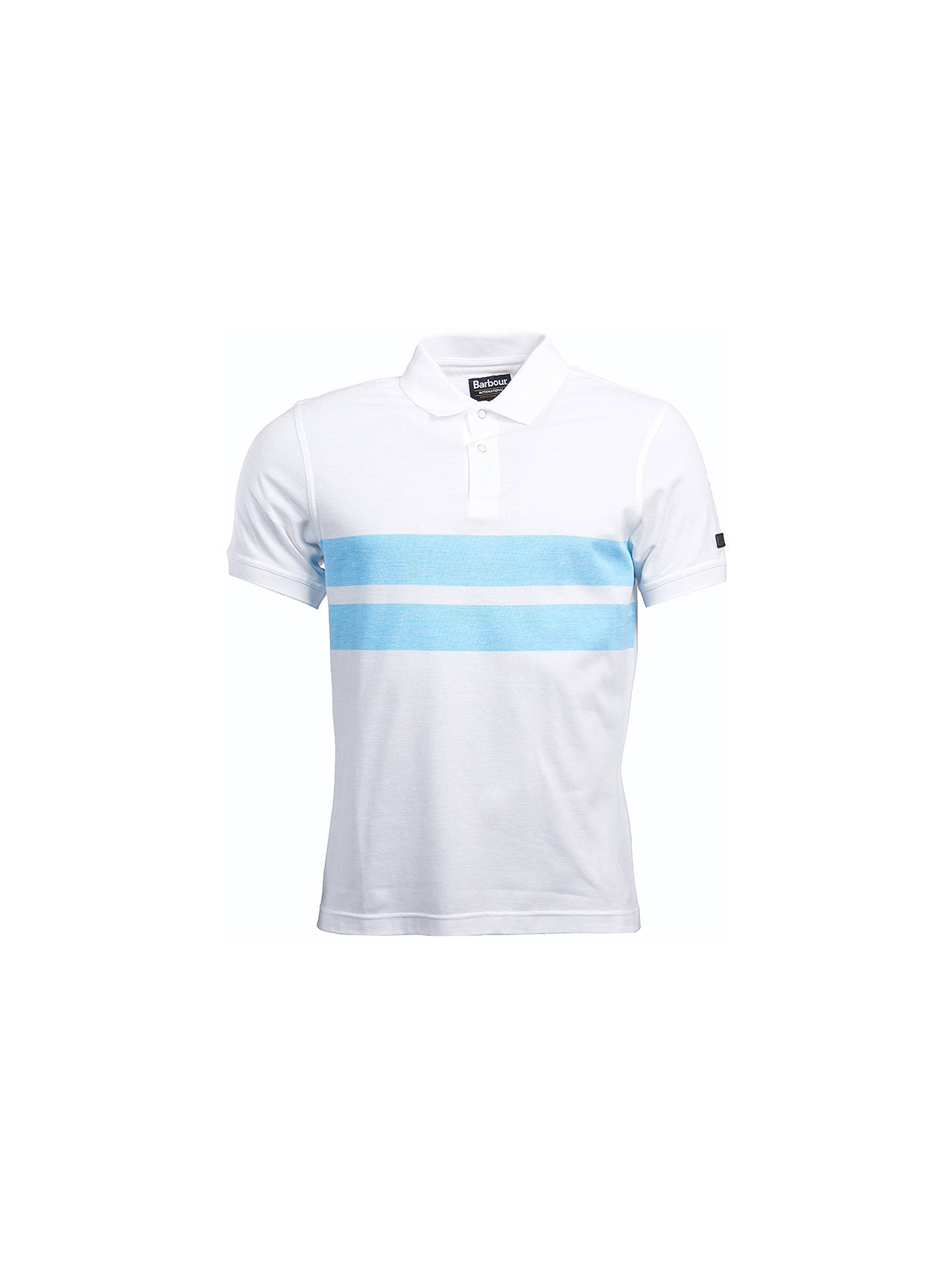 BuyBarbour International Textured Stripe Polo Shirt, White, M Online at johnlewis.com