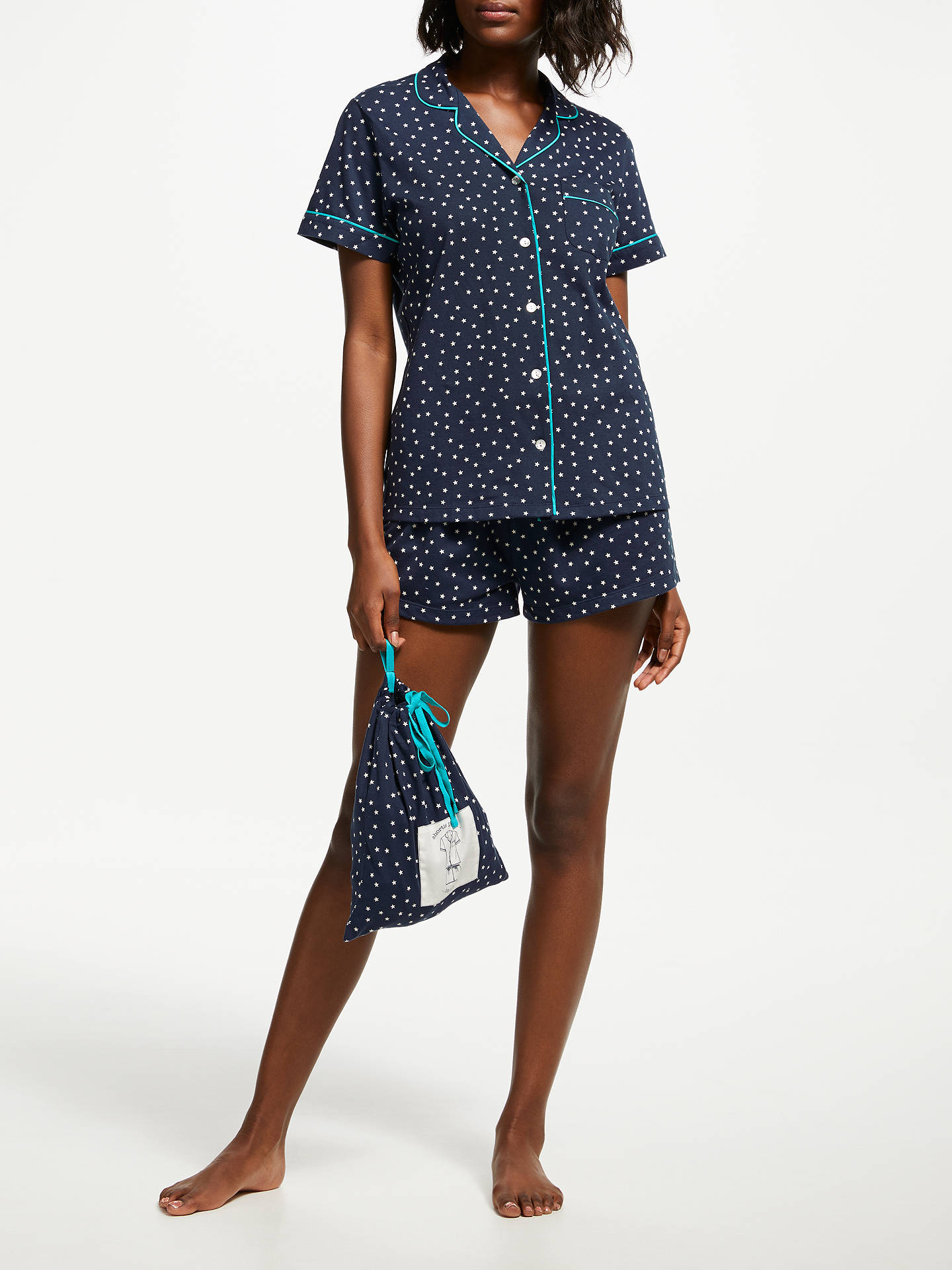 Buy John Lewis & Partners Etienne Star Print Shorts Pyjama Set With Bag, Blue/Turquoise, 16 Online at johnlewis.com