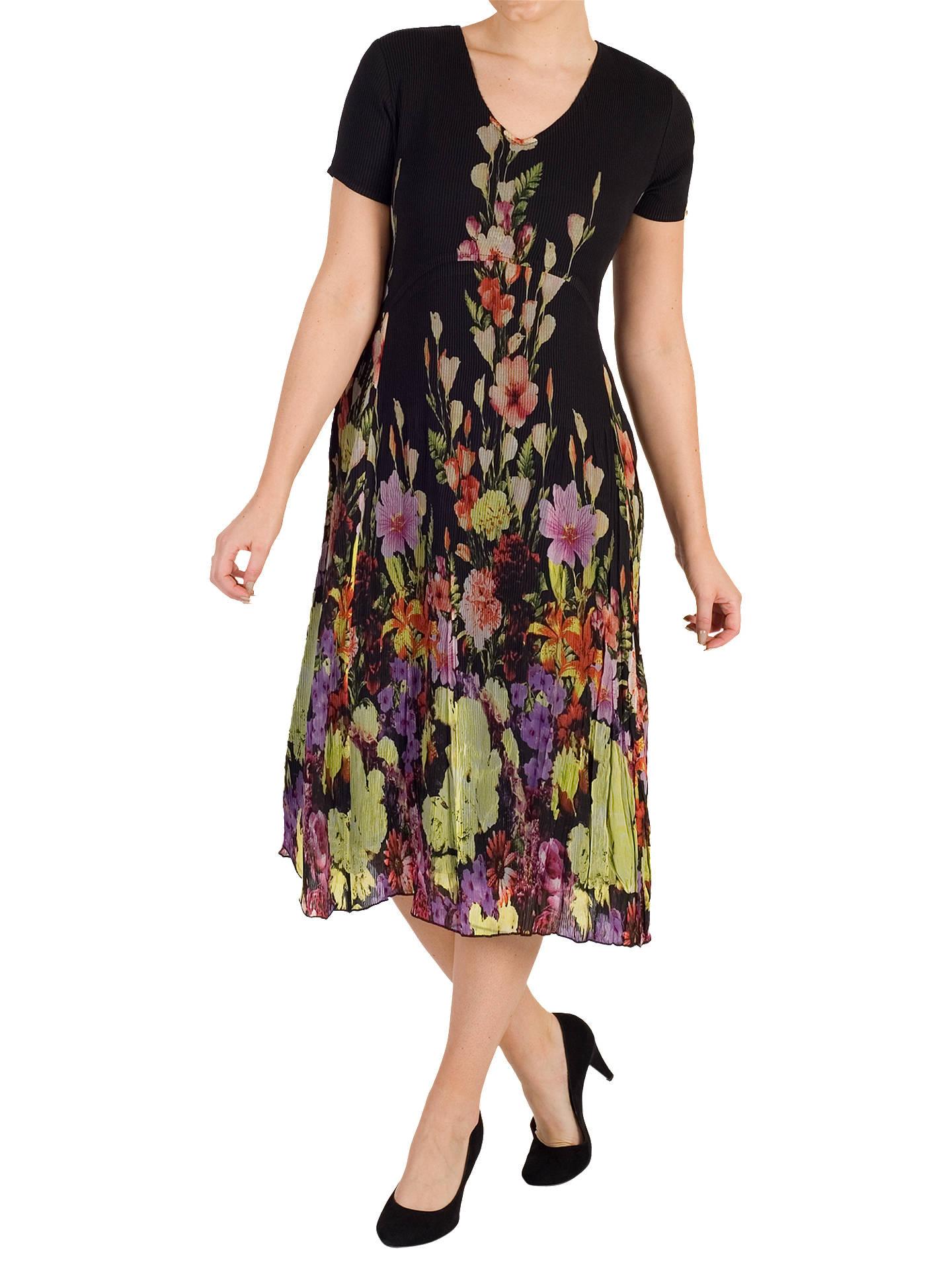 9e1c8fce665cb4 Buy Chesca Floral Border Dress, Black/Multi, 12-14 Online at johnlewis ...