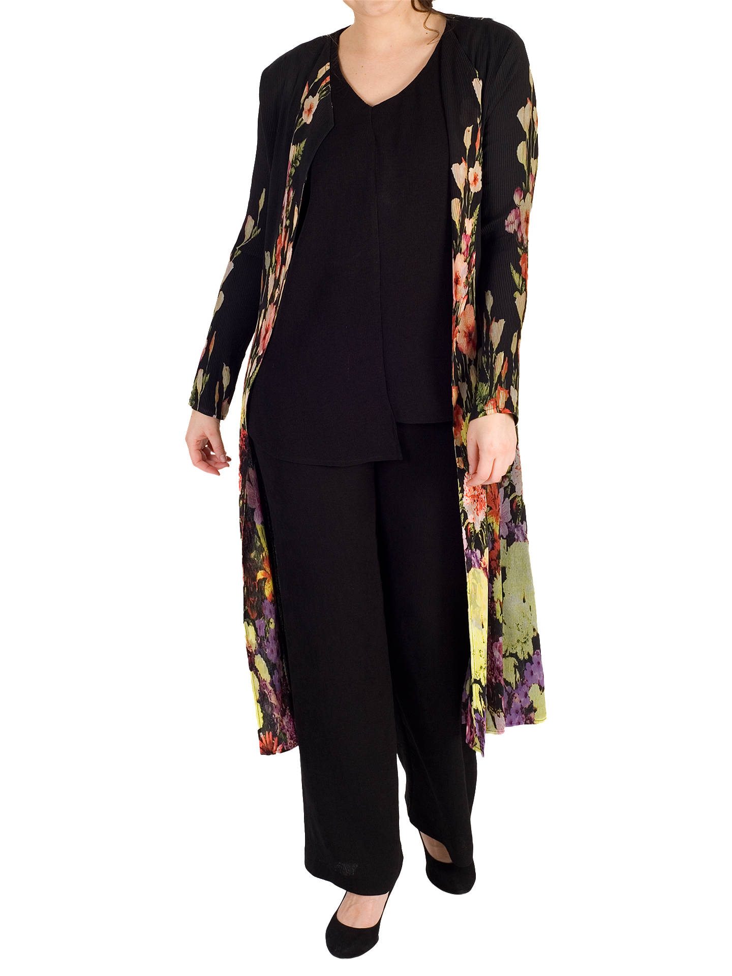 Buy Chesca Floral Border Coat, Black, 12-14 Online at johnlewis.com