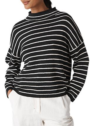 Whistles Fine Stripe Relaxed Jumper, Black/Multi
