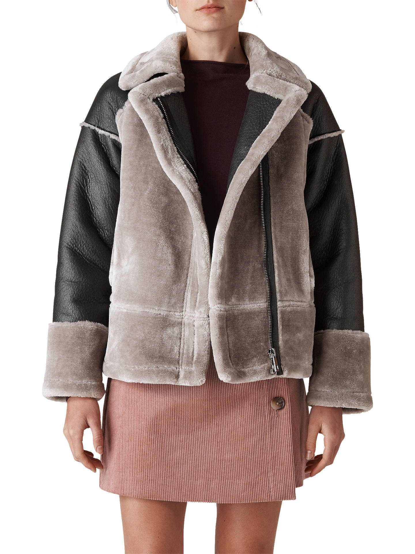 632ea3e64599 Buy Whistles Two Tone Faux Fur Biker Jacket