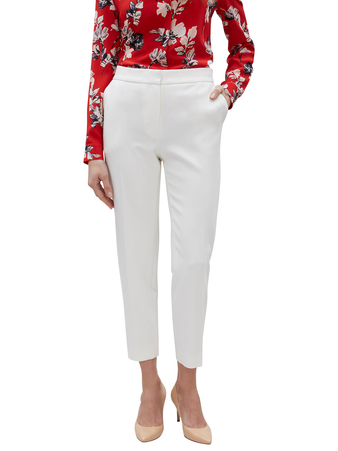 BuyJaeger 7/8 Colette Tapered Trousers, Ivory, 6 Online at johnlewis.com