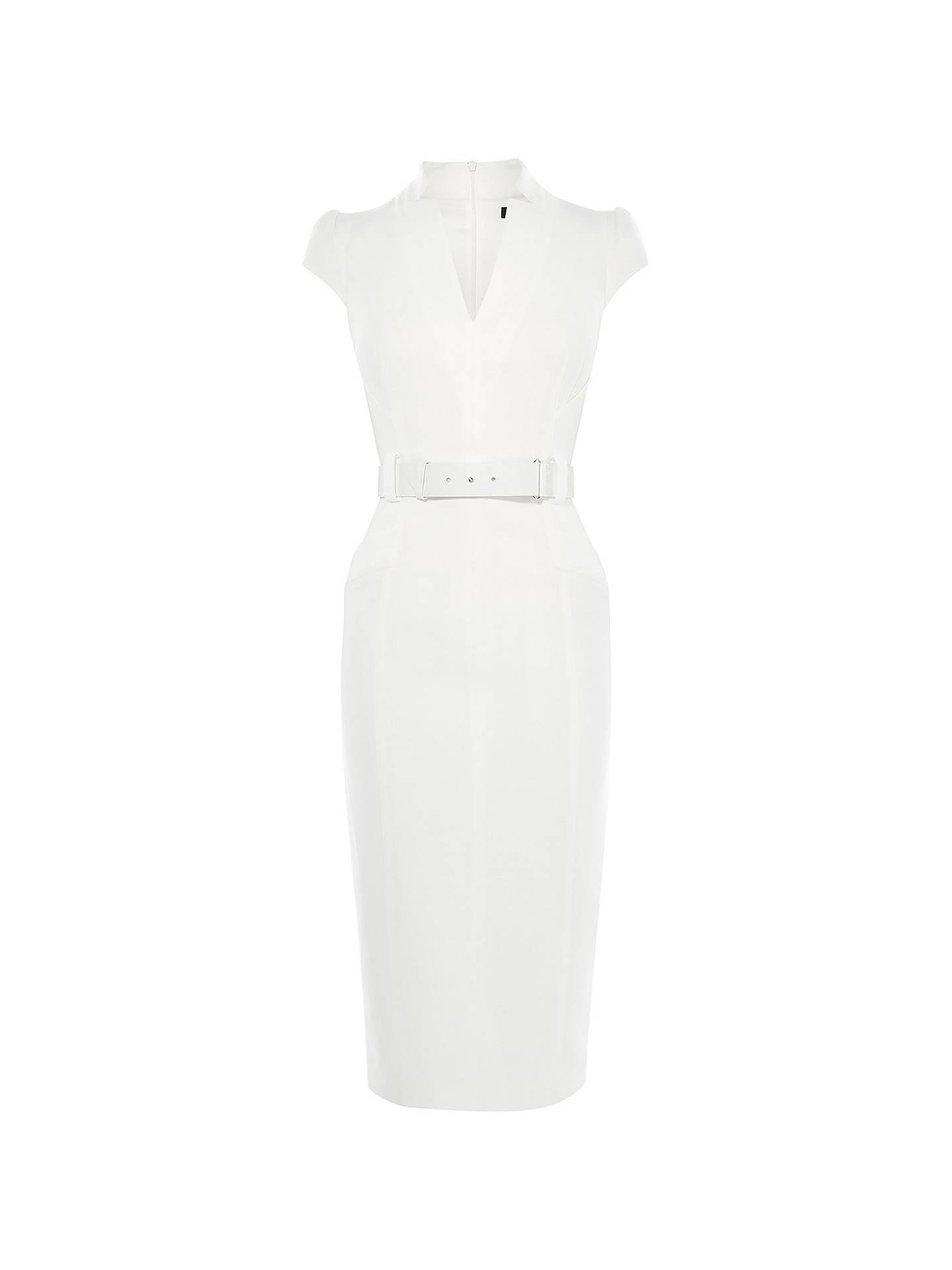 Karen Millen Minimal Metalwork Dress, Ivory at John Lewis & Partners